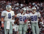 1995 - Dallas Cowboys (L-R) Troy Aikman, Emmitt Smith and Michael Irvin celebrate after Smith scored. (Louis DeLuca/The Dallas Morning News) jnpcowbook dl0830 09042011xSPORTS 12272014xALDIA