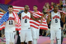 Aug 11, 2012; London, United Kingdom; USA forward Kevin Love (11) and forward LeBron James (6) and guard Kevin Durant (5) celebrate after winning the gold in the men's basketball final against Spain in the London 2012 Olympic Games at North Greenwich Arena. Mandatory Credit: Bob Donnan-USA TODAY Sports