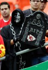 KANSAS CITY, MO - SEPTEMBER 20: An Oakland Raiders holds a sign predicting the outcome during the game against the Kansas City Chiefs at Arrowhead Stadium on September 20, 2009 in Kansas City, Missouri. (Photo by Jamie Squire/Getty Images)