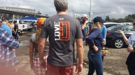 Kevin Love fan coming from the tailgate