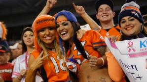 Denver Broncos fans cheer during the first half of an NFL football game against the San Francisco 49ers, Sunday, Oct. 19, 2014, in Denver. (AP Photo/Jack Dempsey)