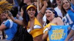 San Diego Charger female fans cheer during 21-14 victory over the Oakland Raiders at Qualcomm Stadium in San Diego, Calif. on Sunday, November 26, 2006. (Photo by Kirby Lee/Getty Images) *** Local Caption ***