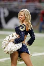"""St. Louis Rams Cheerleaders were established in 1974 when the team was in Los Angeles. Several famous former members of the squad include Jenilee Harrison (""""Three's Company"""" actress) and Lisa Guerrero (journalist and sportscaster). (Photo by Joe Robbins/Getty Images)"""
