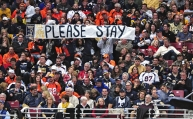 Nov 16, 2014; St. Louis, MO, USA; St. Louis Rams fans hold up a sign from the stands during the second half against the Denver Broncos at the Edward Jones Dome. The Rams won 22-7. Mandatory Credit: Jeff Curry-USA TODAY Sports
