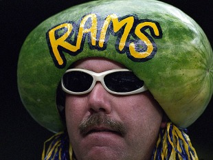 Feb 3, 2002; New Orleans, LA, USA; FILE PHOTO; St. Louis Rams fan against the New England Patriots during Super Bowl XXXVI at the Louisiana Superdome. The Patriots defeated the Rams 20-17. Mandatory Credit: Richard Mackson-US PRESSWIRE