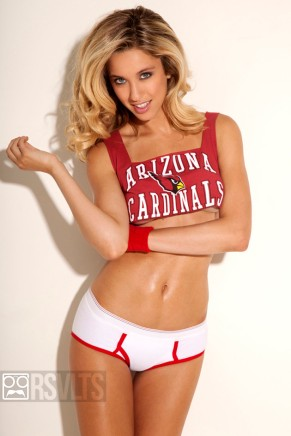 Melissa Bolona, newest face of Beach Bunny swimwear, models NFL uniforms for The Roosevelts Magazine and RSVLTS.com.