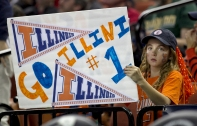 3/24/13 Ralph Barrera/American-Statesman; NCAA 2013 Basketball Championship-Austin, TX.--Illiinois vs. Miami --An Illinois fan watches the action during first half.