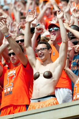 Sep 7, 2013; Champaign, IL, USA; Illinois Fighting Illini fans during the fourth quarter against the Cincinnati Bearcats at Memorial Stadium. Illinois won 45-17. Mandatory Credit: Bradley Leeb-USA TODAY Sports