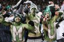 EAST LANSING, MI - NOVEMBER 8: Michigan State Spartans fans get ready for the game against the Ohio State Buckeyes at Spartan Stadium on November 8, 2014 in East Lansing, Michigan. (Photo by Joe Robbins/Getty Images)