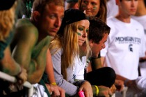 South Bend Tribune/JAMES BROSHER Michigan State fans watch the closing minutes of a 20-3 loss to Notre Dame on Saturday, Sept. 15, 2012, in East Lansing, Mich.