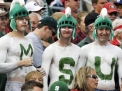 ORLANDO, FL - JANUARY 1: Fans of the Michigan State Spartans cheer play against the Georgia Bulldogs at the 2009 Capital One Bowl at the Citrus Bowl on January 1, 2009 in Orlando, Florida. (Photo by Al Messerschmidt/Getty Images)