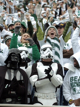 The Michigan State University student section at Spartan Stadium in East Lansing gets fired up as they watch pre-game warmups prior to Saturday afternoon, October 3rd's clash against in-state rival Michigan. Lon Horwedel | AnnArbor.com