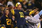 Dec 28, 2013; Tempe, AZ, USA; Michigan Wolverines fan reacts in the fourth quarter against the Kansas State Wildcats during the Buffalo Wild Wings Bowl at Sun Devil Stadium. Kansas State defeated Michigan 31-14. Mandatory Credit: Mark J. Rebilas-USA TODAY Sports