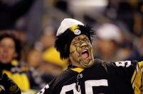 Football: Closeup of painted Pittsburgh Steelers fan during game vs New York Jets. Pittsburgh, PA 12/12/2004 MANDATORY CREDIT: Bob Rosato/Sports Illustrated SetNumber: X72453 TK2