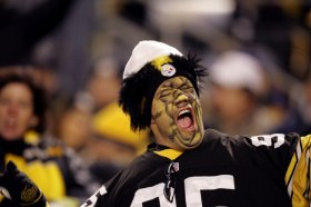 Football: Closeup of painted Pittsburgh Steelers fan during game vs New York Jets. Pittsburgh, PA 12/12/2004 MANDATORY CREDIT: Bob Rosato/Sports Illustrated SetNumber: X72453 TK2