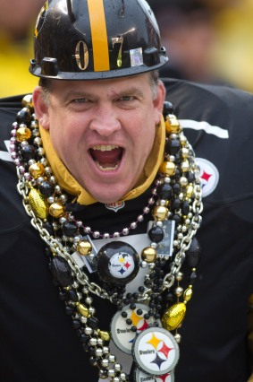 Image #: 19910023 October 28, 2012: A Pittsburgh Steeler fan in action during the first half of the NFL game between the Pittsburgh Steelers and Washington Redskins at Heinz Field in Pittsburgh, PA. CSM /Landov