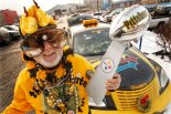 "In this photo taken Jan 28, 2011, the Pittsburgh Steelers ""Ultimate Fan"" Bud Recktewald of Pittsburgh, cheers outside Heinz Field before a pep rally in Pittsbugh. The Steelers face the Green Bay Packers in NFL football's Super Bowl XLV on Sunday, in Arlington, Texas. (AP Photo/Gene J. Puskar)"