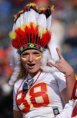 DENVER - NOVEMBER 14: Kate Christian of Denver, Colorado supports the Kansas City Chiefs as they face the Denver Broncos at INVESCO Field at Mile High on November 14, 2010 in Denver, Colorado. (Photo by Doug Pensinger/Getty Images)