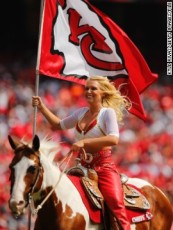 KANSAS CITY, MO - SEPTEMBER 15: Chiefs cheerleader Susie rides Warpaint in between quarters as the Kansas City Chiefs take on the Dallas Cowboys in the /h quarter September 15, 2013 at Arrowhead Stadium in Kansas City, Missouri. (Photo by Kyle Rivas/Getty Images) *** Local Caption *** Warpaint ; Susie