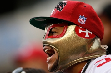 A San Francisco 49ers' fan screams for his team during the third quarter of their NFL football game against the New York Jets in East Rutherford, New Jersey, September 30, 2012. The 49ers won the game 34-0. REUTERS/Mike Segar (UNITED STATES - Tags: SPORT FOOTBALL) - RTR38MPD