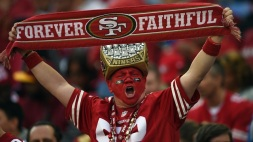 SANTA CLARA, CA - NOVEMBER 23: a San Francisco 49ers fan cheers for his team against the Washington Redskins at Levi's Stadium on November 23, 2014 in Santa Clara, California. (Photo by Thearon W. Henderson/Getty Images)