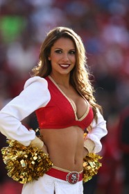 SAN FRANCISCO, CA - SEPTEMBER 16: The San Francisco 49ers Gold Rush cheerleaders line up before the San Francisco 49ers game against the Detroit Lions at Candlestick Park on September 16, 2012 in San Francisco, California. (Photo by Ezra Shaw/Getty Images)
