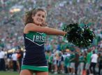 A Notre Dame cheerleader during the second half of an NCAA college football game against Oklahoma Saturday, Sept. 28, 2013, in South Bend, Ind. Oklahoma defeated Notre Dame 35-21.(AP Photo/Darron Cummings)