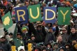 EL PASO, TX - DECEMBER 30: Fans of the Notre Dame Fighting Irish hold up a sign during play against the Miami Hurricanes at Sun Bowl on December 30, 2010 in El Paso, Texas. (Photo by Ronald Martinez/Getty Images)
