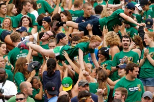 Notre Dame students celebrate a touchdown during an NCAA college football game on Saturday, Aug. 31, 2013, at Notre Dame. SBT Photo/JAMES BROSHER