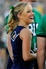 27 September 2008: A Notre Dame cheerleader during the Notre Dame Fighting Irish 38-21 win over the Purdue Boilermakers at Notre Dame Stadium in Notre Dame, Indiana.