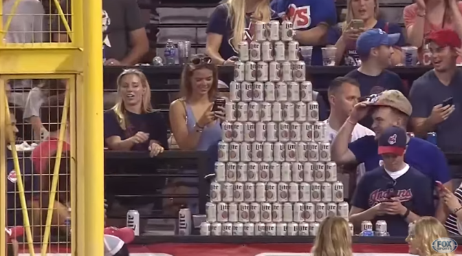 Indians Fans Constructed A Big Ass Beer Pyramid In Right Field Last Night
