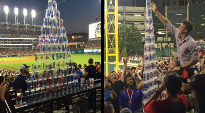 Indians Fans Built Another Beautiful Beer Pyramid At Progressive Field Last Night