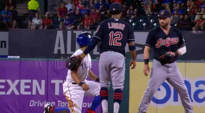 Jason Kipnis fake fought Rougned Odor last night, made the Rangers dugout LOL