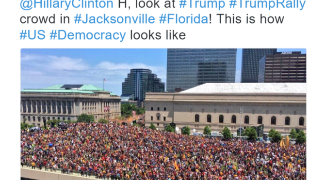 Woman Tweets Pic About Trump's Rally In Jacksonville But Oops The Pic Was Really Cleveland's Championship Parade