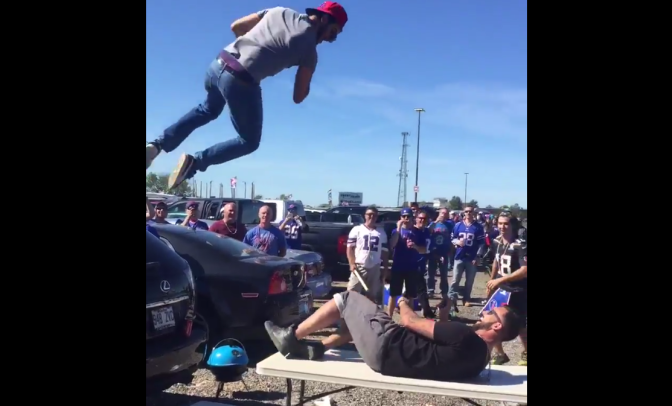 Mishmash- Bills Mafia tailgate elbow drop; Video of woman chasing 3 burglars out of her house; Kurt Angle 65 Vicodin a day