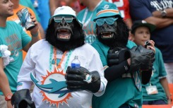 Sep 7, 2014; Miami Gardens, FL, USA; Miami Dolphins fans cheers on during the second half against the New England Patriots at Sun Life Stadium. The Dolphins won 33-20. Mandatory Credit: Steve Mitchell-USA TODAY Sports