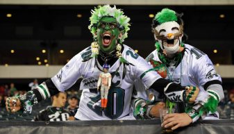 September 30, 2012; Philadelphia, PA, USA; Philadelphia Eagles fans cheer during first quarter action against the New York Giants at Lincoln Financial Field. Mandatory Credit: Jeffrey G. Pittenger-USA TODAY Sports