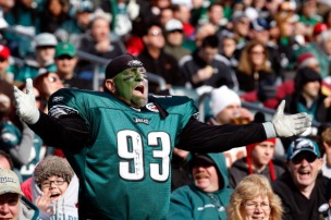 PHILADELPHIA, PA - JANUARY 01: A Philadelphia Eagles fan reacts to a play during the first half of the Eagles game against the Washington Redskins at Lincoln Financial Field on January 1, 2012 in Philadelphia, Pennsylvania. (Photo by Rob Carr/Getty Images)
