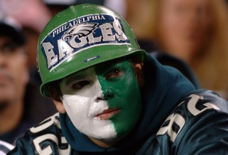 Philadelphia Eagles fan watches play against the Dallas Cowboys November 14, 2005 at Lincoln Financial Field in Philadelphia. The Cowboys defeated the Eagles 21 - 20. (Photo by Al Messerschmidt/Getty Images)