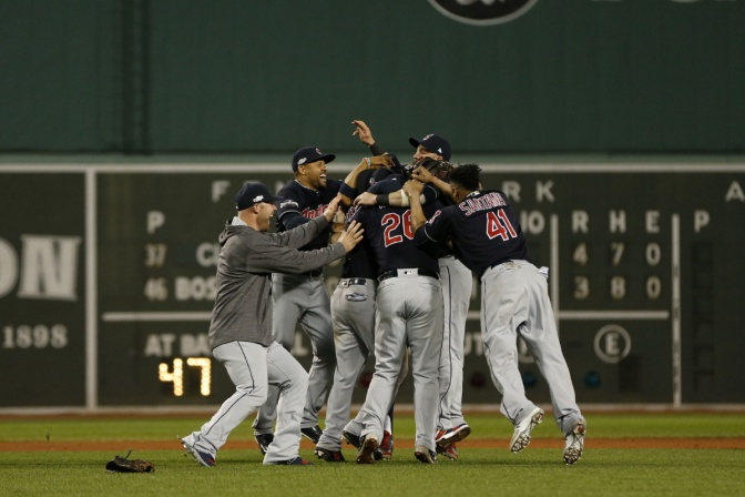Oct 10, 2016; Boston, MA, USA; Cleveland Indians teammates celebrate after defeating the Cleveland Indians 4-3 in game three of the 2016 ALDS playoff baseball series at Fenway Park. Mandatory Credit: Greg M. Cooper-USA TODAY Sports