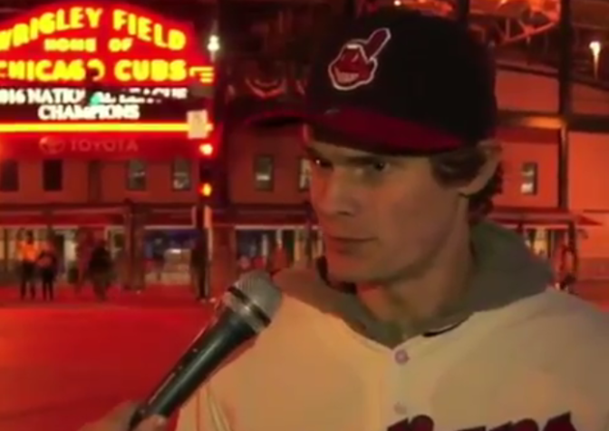 "I Love This Cocky Indians Fan Giving An ""Interview"" Outside Of Wrigley Field"