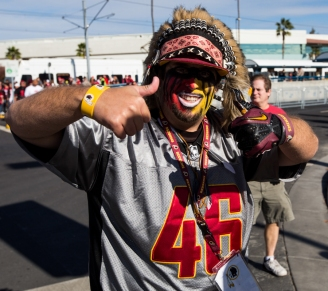 "Jordan Stockdale from Fresno, California attends the Washington Redskins versus San Francisco 49ers game at Levis Stadium dressed up as the Native mascot on November 23, 2014 in Santa Clara, California. Stockdale, a self-proclaimed Redskins fan for all his life who admits he was born in the late 1980s, questions why the name has lasted so long claiming, ""If it was a big deal it would be changed already."" (Jose Lopez)"
