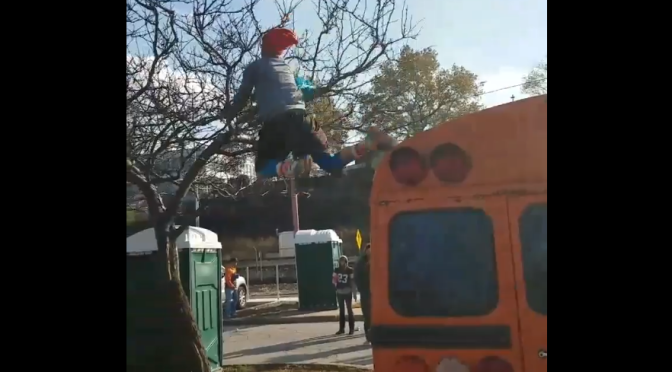 A Guy In The Muni Lot Willingly Jumped Off A Bus Into A Tree For Some Reason